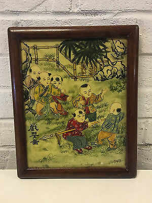 Vintage Asian Chinese Signed Double Sided Artwork w/ Children & Birds Decoration