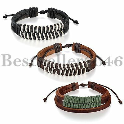Multilayer Leather Surfer Men Women Leather Cord Bracelet Cuff Bangle Wristband