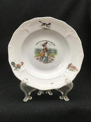 "Antique Child's 6 1/4"" Bowl THIS IS THE MAIDEN ALL FORLORN w Chickens, Rabbit"