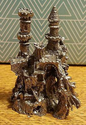 """Castle with Dragon, Fantasy Figure, Pewter,  2 1/2 """" H x 1 3/4 inches"""" W x 1"""" D"""
