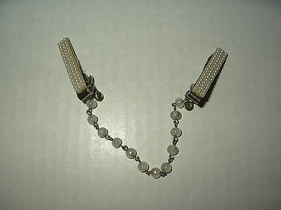Vintage Goldtone & Pearl Chain Sweater & Dress Guard Clips
