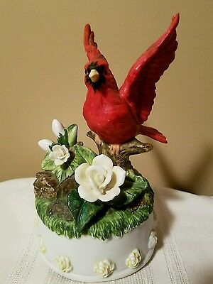 Seymour Mann Studios Red Cardinal Bird Musical Figurine Bisque Porcelain