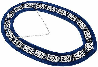 Masonic Collar PAST MASTER BLUE BACKING SILVER CHAIN DMR-200SB