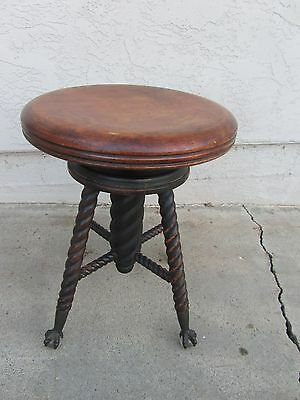 NICE Barley Twist Glass Ball & Claw Piano Stool Charles Parker & Co Old Antique