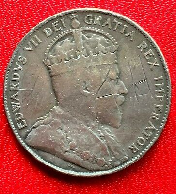 1904 Canada Coin King Edward VII Silver 50 Cents Crown