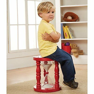 Time Out Stool Wooden Children Durable Sturdy Vintage Red Kids Home Toddler Sand
