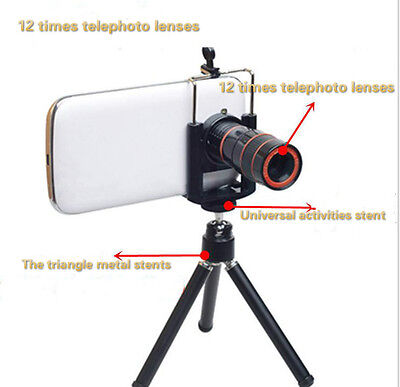 Clip-on12x Optical Zoom HD Telescope Camera Lens For Universal Mobile Phone+gift