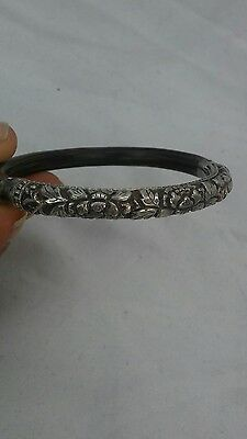 Beautiful antique Chinese silver flower motif rattan  bangle bracelet