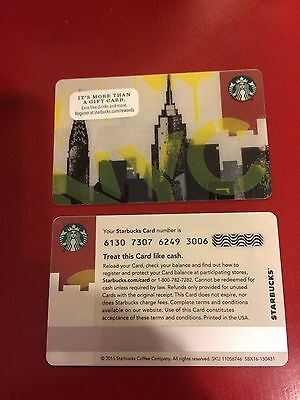 Starbucks 2016 New York City NYC Skyline Gift Card Limited Edition HTF