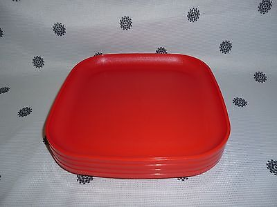 Tupperware Square Luncheon Plates Set of 4 Red NEW!