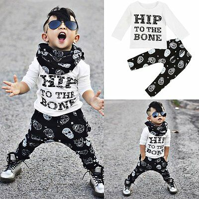 2pcs Kids Baby Boys Long Sleeve T-shirt Tops+Pants Trousers Outfits Clothes Sets