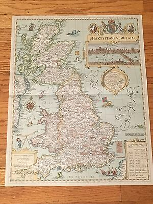 WILLIAM SHAKESPEARE Map GREAT BRITAIN England Scotland Wales Castles John Speed