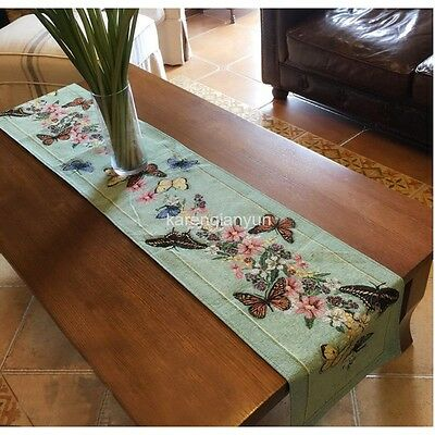 """Butterfly Floral Embroidered Table Runner Wedding Dresser Cloth Daily 71""""x 13"""""""
