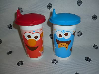 Tupperware 310ml Sippy Cup Set Cookie Monster & Elmo Bell Tumblers New!