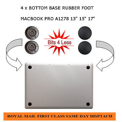 "Macbook Pro A1278 A1286 A1297 bottom base 4 X Rubber Feet foot pad 13"" 15"" 17"""