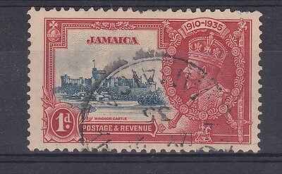 DB395) Jamaica 1935 Jubilee 1d deep blue & scarlet SG 114 with variety