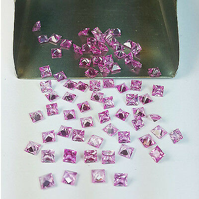 EXCLUSIVE 75 Pcs LOT SQUARE SHAPE STUNNING PINK SAPPHIRE (LAB CREATED)