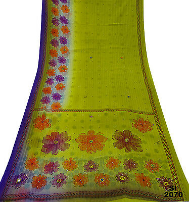 Vintage Indian Sari Green Embroidered Floral Drape Women Wrap Craft Veil Si2070