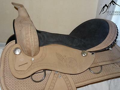 NEW Beige Fine Engraved Western Saddle with Black Seat