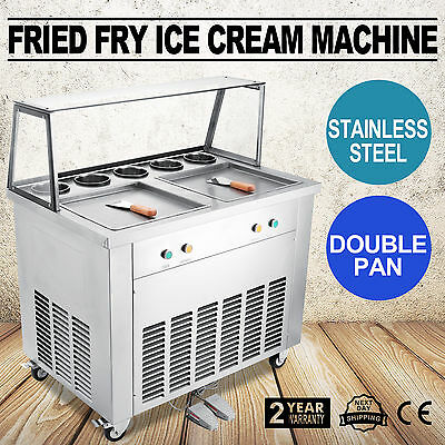 Double Pan Fried Ice Cream Machine exquisite craft 5 buckets energy saving