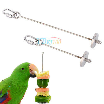 1PC Stainless Steel Kabob Skewer For Parrot Budgie Bird Food Toy Base Hanging