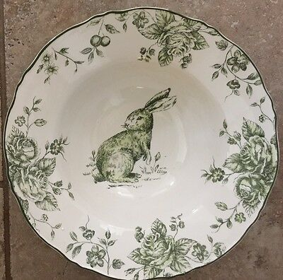 Maxcera Green And White Toile Bunny Rabbit Large Serving Bowl 12""