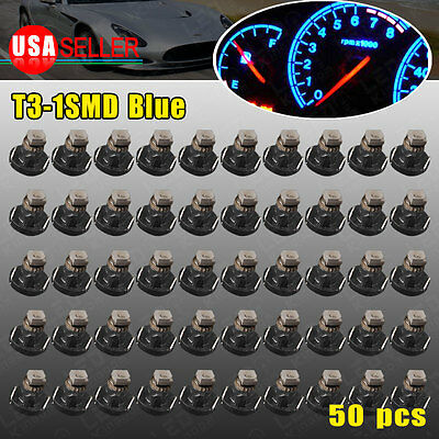 50x Pure Blue T3 Neo Wedge 1SMD Instrument Dash Climate Gauge LED Light Bulbs