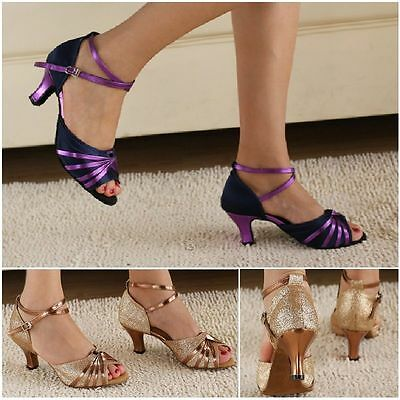 Gold Flash Latin Dance Shoes Women's Ballroom Salsa Party Square Dance Shoes Med