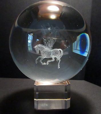 Pegasus 3D Laser Crystal Ball 80mm on Stand - Gift Boxed (Post or Local Pickup)