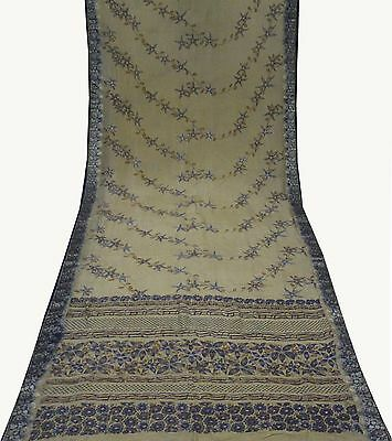 Uk Vintage Sari Floral Embroidered Pure Silk Fabric Antique Wrap 5Yd Beige Saree
