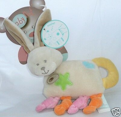 Babynat Doudou hochet Lapin Collection Bubble gum grelot noeud 22 cm bébé fille