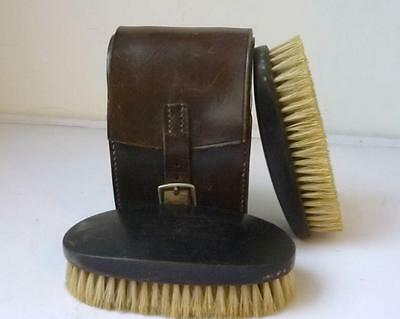 Real ebony Antique Set Wooden Clothes Brush in Leather Case
