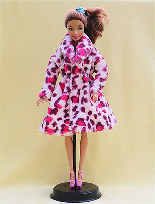 Fashion Doll Clothes Doll Accessories pibk Leopard Flannel coat for Barbie doll