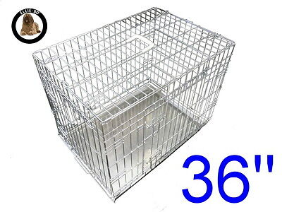 """Ellie-Bo 36"""" Large Dog Puppy Pet Cage Folding Carrier Crate In Silver"""