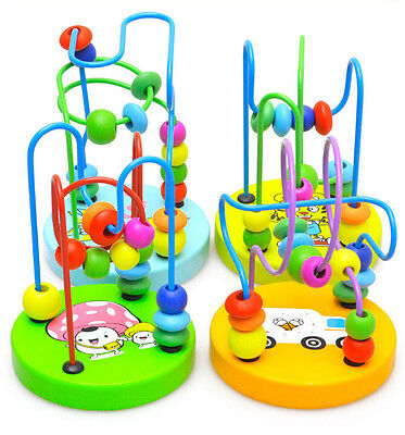 Wooden Toy Mini Around Beads Wire Maze Children Baby Educational Game KR