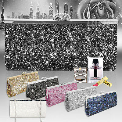 Women Sparkly Crystal Evening Clutch Bag Wedding Bridesmaid Fashion Handbag