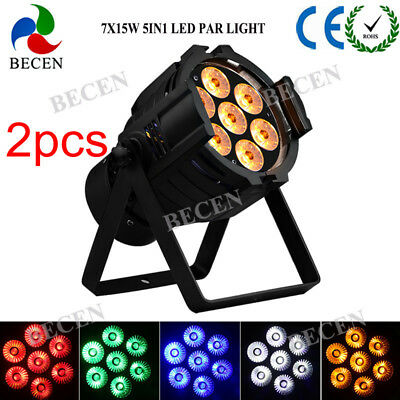 2pcs 7x12w rgbwa 5in1 led mini par can light dmx512 dj lighting for party disco