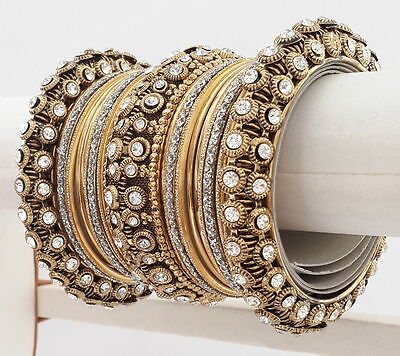 22pc Indian Ethnic Bangles Jewelry Bollywood Bridal Gold Plated Antique Set.