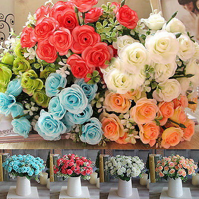 1 Bouquet 15 Heads Artificial Rose Faux Silk Flower Party Wedding Decor Alluring