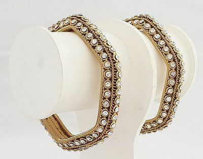 2pc Indian Ethnic Traditional Jewelry Bollywood Bridal Gold Plated Bangle Set.