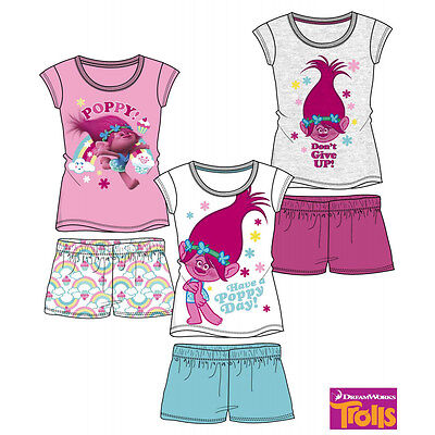 DreamWorks Trolls Girls  Pyjamas pjs Short Sleeve T-Shirt Shorts Set
