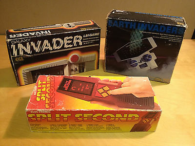 X3 Vintage Boxed Battery Operated Games Galaxy & Earth Invader + Split Second