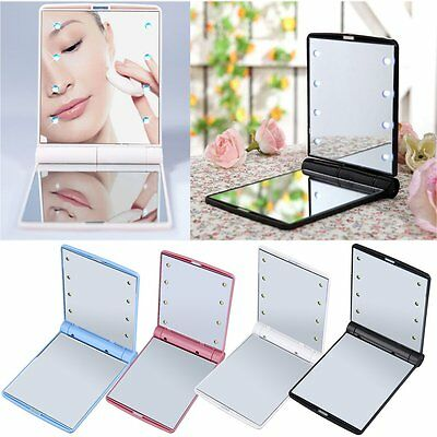 LED Make Up Mirror Cosmetic Mirror Folding Portable Compact Pocket Gift FY