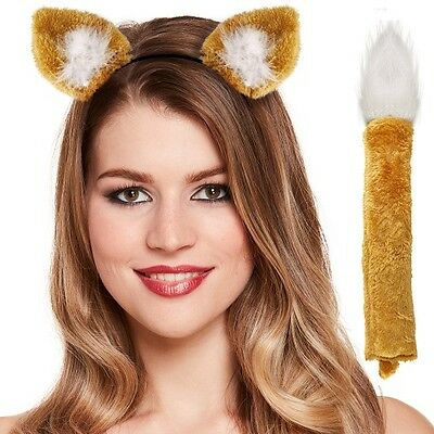Childrens Fancy Dress Fox Set, Ears on Band & Tail Book Day Animal Set New