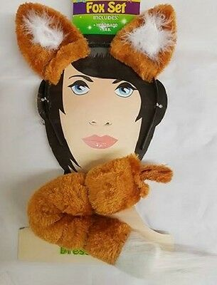 Childrens Fancy Dress Fox Set, Ears on Band and Tail Book Day Animal Set New h