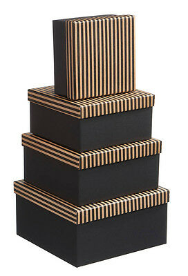 Gift Boxes for Men Black/Craft Paper Stripe Print -Luxury Packaging - Nest of 4
