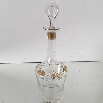 Carafe a Liqueur Crystal Ancient Napoleon III French Glass Verre Golden