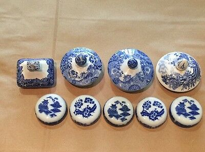 Collection Of Antique Vintage Ceramic Pot Lids Blue & White English? Chinese?