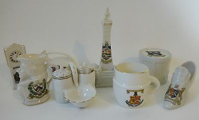 Job lot x 8 crested goss & other pieces some better items clock, tower, drum etc