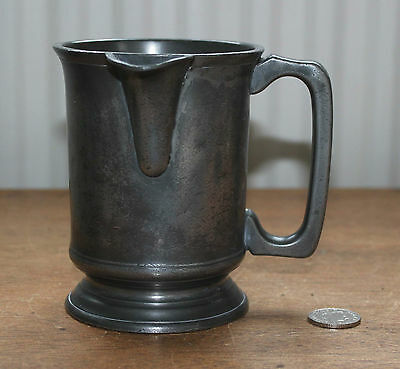 Antique Victorian :  Pewter Lipped Pouring Lip Pint Measure Beer Tankard